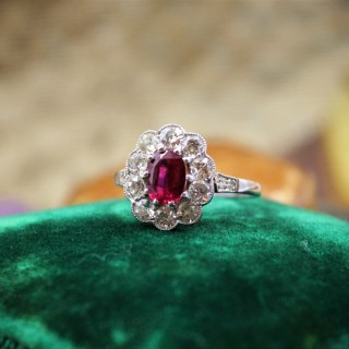 A very fine Siamese Ruby & Diamond Cluster Ring mounted in Platinum, English, Circa 1930
