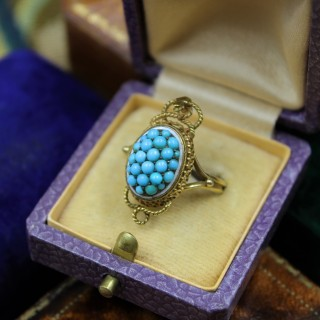 A very fine Victorian Turquoise Serpentine Cluster Ring set in 18ct Yellow Gold, English, Circa 1880