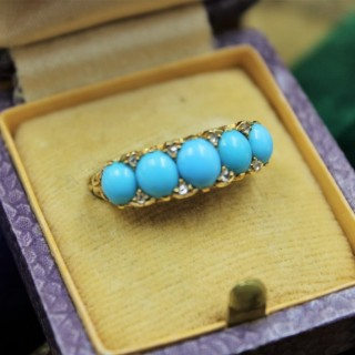A Victorian Turquoise & Diamond Five Stone Ring set in 18ct Yellow Gold, English, Circa 1890
