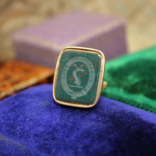 A very fine Bloodstone Seal in 15ct Yellow Gold, English, Circa 1850