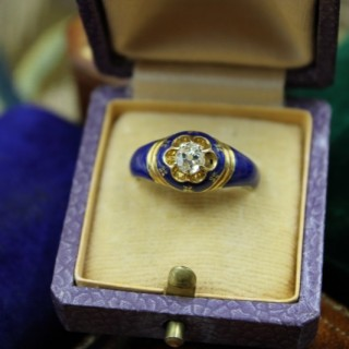 A very fine Diamond and Blue Enamel Mourning Ring set in 18ct Yellow Gold, English, Circa 1850