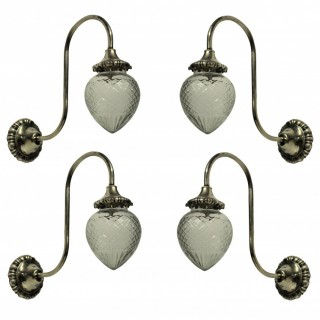 A SET OF FOUR EDWARDIAN SWAN NECK WALL LIGHTS