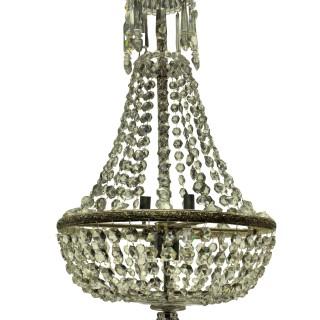 AN EDWARDIAN CUT GLASS TENT & WATERFALL CHANDELIER