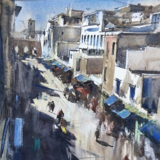 'View from Cafe des Artistes' original painting by British artist Tom Hoar