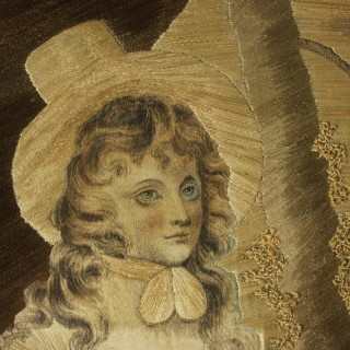 Antique Georgian Silkwork Embroidery Picture - Girl with Sheep