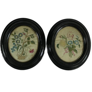 Pair Georgian Antique Silkwork Floral Embroideries