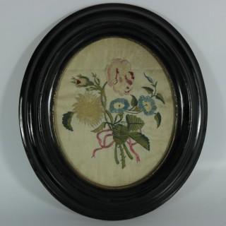 Pair Georgian Antique Silkwork Floral Embroideries