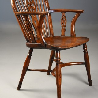 Extremely rare & unusual 19thc yew wood wheelback Windsor armchair with excellent patina