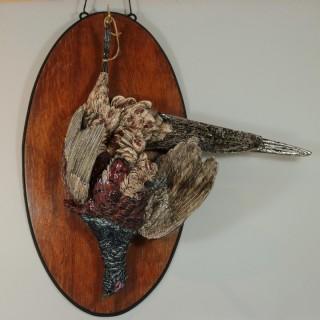 Large Hugo Lonitz Majolica Pheasant Wall Plaque