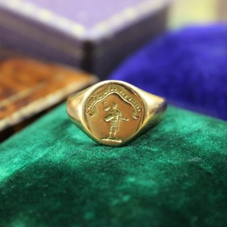 A very fine Signet Ring with Roman Centurion Intaglio Carving in 18ct Yellow Gold, English, Circa 1958