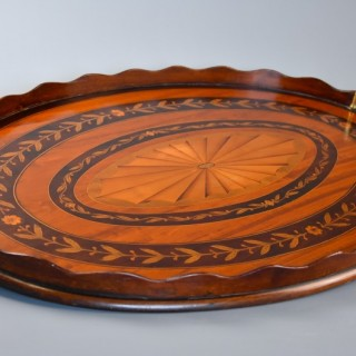 Fine quality Edwardian oval inlaid marquetry tray