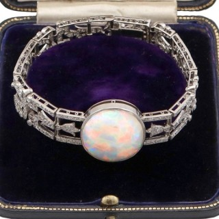 24.66ct Opal and 9.81ct Diamond, Platinum Bracelet - Antique Circa 1915