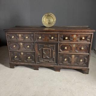 Oak English dresser base mid to late 17th century