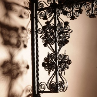 A Tyrolean Wrought Iron Very Decorative Candle Holder/ Hanging Flower  Basket.