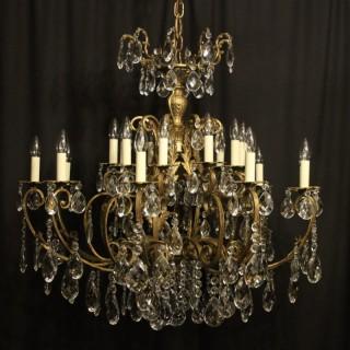 Italian Gilt & Crystal 20 Light Antique Chandelier