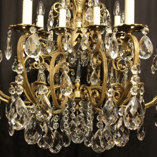 Italian Gilt & Crystal 20 Light Antique Chandelier