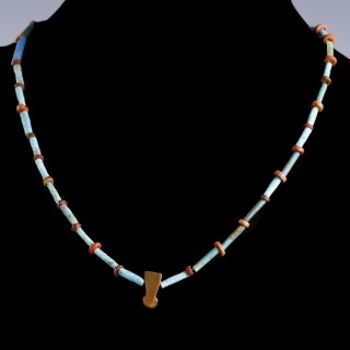 Egyptian Faience Necklace with Menat Amulet