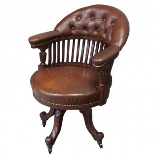 Victorian Brown Leather and Mahogany Office Chair