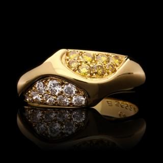 Van Cleef & Arpels a Diamond and Fancy Yellow Diamond Asymmetric Gold Ring