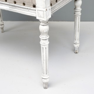 White Painted Reupholstered Stool