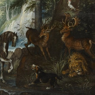 Dutch old master painting of animals in a landscape by Savery