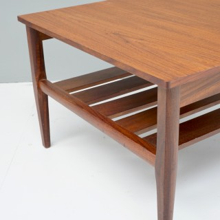 Small Square Teak Coffee Table with Magazine Rack