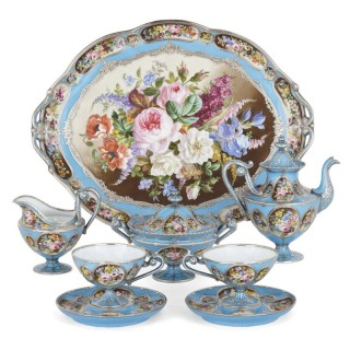 French silver and bleu celeste porcelain tea set