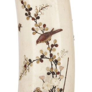 Japanese mother-of-pearl and tortoiseshell inlaid ivory vase