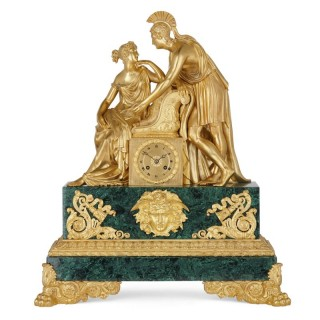 Large Charles X period gilt bronze and malachite clock