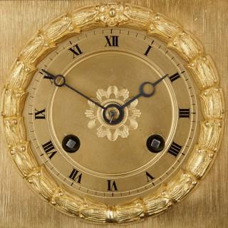 Large Charles X period gilt bronze and malachite clock