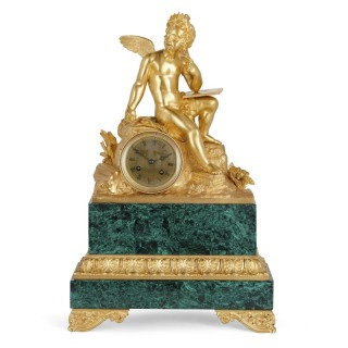 French Neoclassical malachite and gilt bronze mantel clock