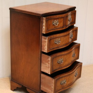 Small Proportioned Walnut Serpentine Front Chest Of Drawers