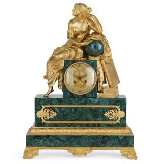 French Charles X malachite and gilt bronze figurative clock