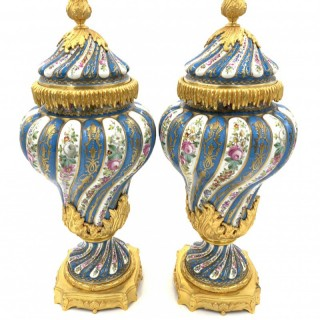19th Century Pair of French Sevres Style Porcelain Vases