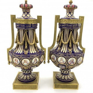 FINE 19TH CENTURY PAIR OF FRENCH SEVRES STYLE PORCELAIN VASES