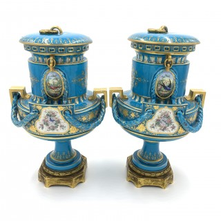 Pair of SKY Blue Sevres style vases