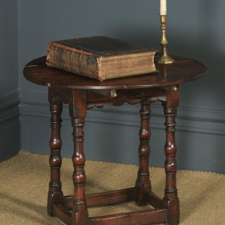 Antique English Charles II Style Oak Occasional Drop Leaf Oval Side Table (Circa 1850)