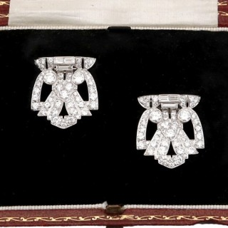 7.27ct Diamond and Platinum, 18ct White Gold Double Clip Brooch - Art Deco - Antique Circa 1930