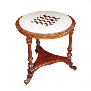 A Circular Walnut Games Table