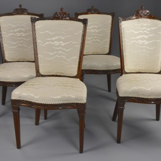 Set of four late 18th century Continental walnut chairs, possibly Italian