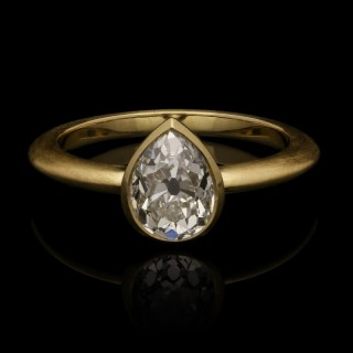 1.48ct Old Cut Pear Shape Diamond Solitaire Ring in Satin Finish 18ct Gold by Hancocks