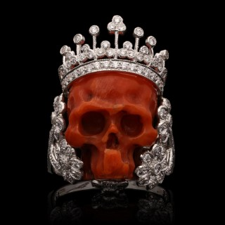 A Fantastical Diamond and Coral Skull Ring by Lydia Courteille