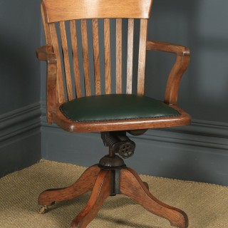 Antique English Edwardian Solid Oak & Green Leather Revolving Office Desk Arm Chair (Circa 1910)