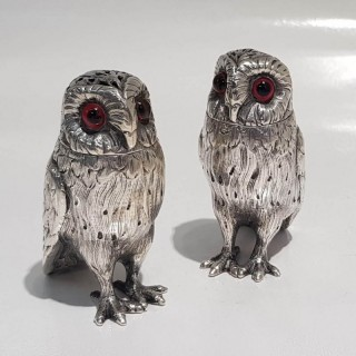 Pair of Antique Silver Owl Peppers