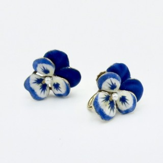 Antique gold and enamel pansy earrings