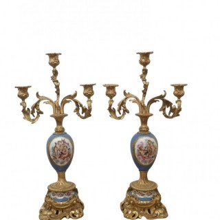 PAIR OF 19TH CENTURY SEVRES STYLE PORCELAIN AND GILT BRONZE CANDELABRA