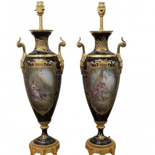 PAIR OF 19TH CENTURY FRENCH SEVRES PORCELAIN LAMPS