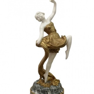 1920S FRENCH MARBLE AND GILT BRONZE FIGURE OF A DANCER BY THEOPHILE SOMME