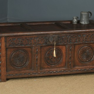 Antique English 17th Century Charles II Oak Carved Triple Panel Coffer Chest Blanket Box (Circa 1680)