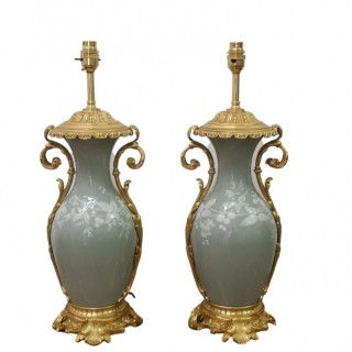 PAIR OF 19TH CENTURY FRENCH PATE-SUR-PATE LAMPS
